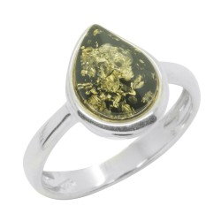 Green Amber and Silver 925/1000 ring, drop shape