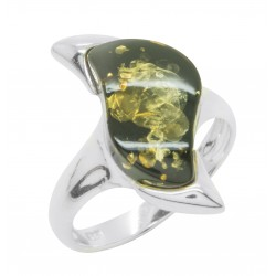 Ring in green amber and silver 925/1000 zigzag shape