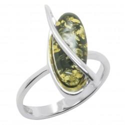 Ring grün Bernstein und Silber Olivenform
