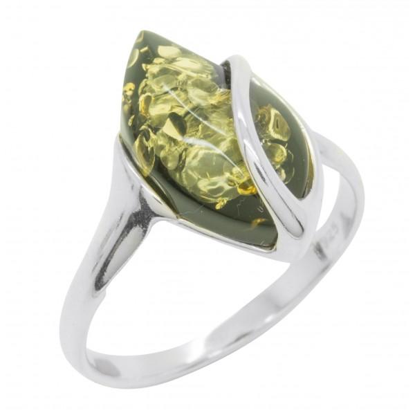 Bague en Ambre naturel couleur vert et Argent 925/1000