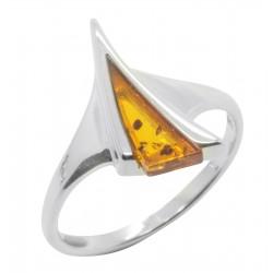 Ring Bernstein Silber 925/1000 Cognac und Form Dreieck