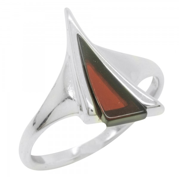 Bague en Ambre naturel cerise et Argent 925/1000, forme triangle