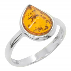 Ring in Amber cognac and Silver 925/1000, form drop of water