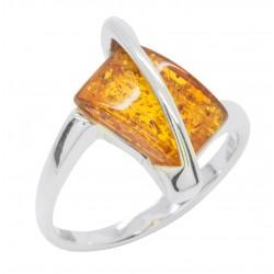 Anello ambra cognac e argento 925/1000, rettangolare