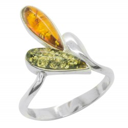 Ring in silver and natural amber green and honey color