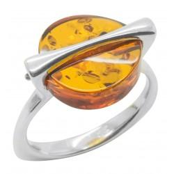 Bernstein Ring natürliche Cognac und Silber 925/1000
