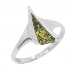 Ring grün Bernstein und Silber 925/1000, Dreiecksform