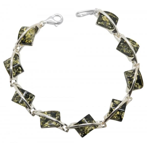 Bracelet Argent et ambre vert naturel
