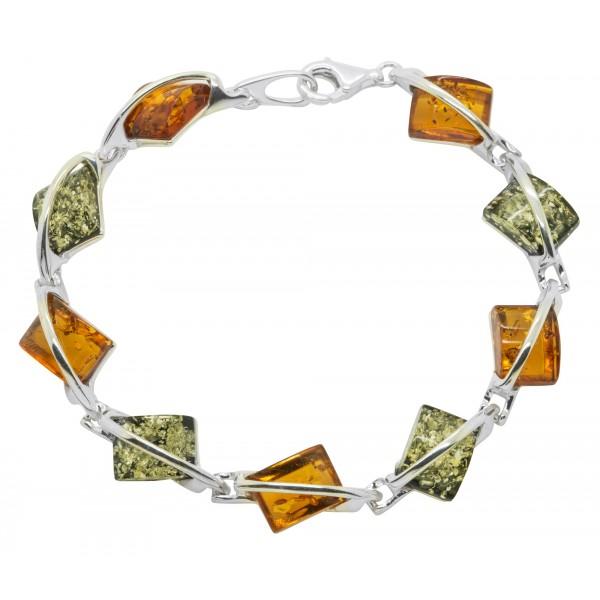 Bracelet Argent et ambre multicolore