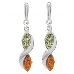 Multicolored silver and amber earring
