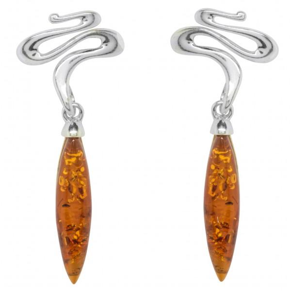 Boucle d'oreille Argent torsadé et longue pierre d'Ambre miel