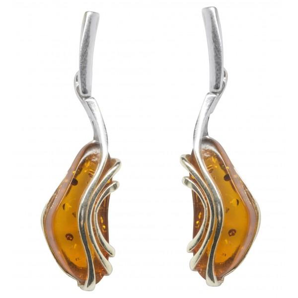 Boucle d'oreille argent et ambre couleur miel