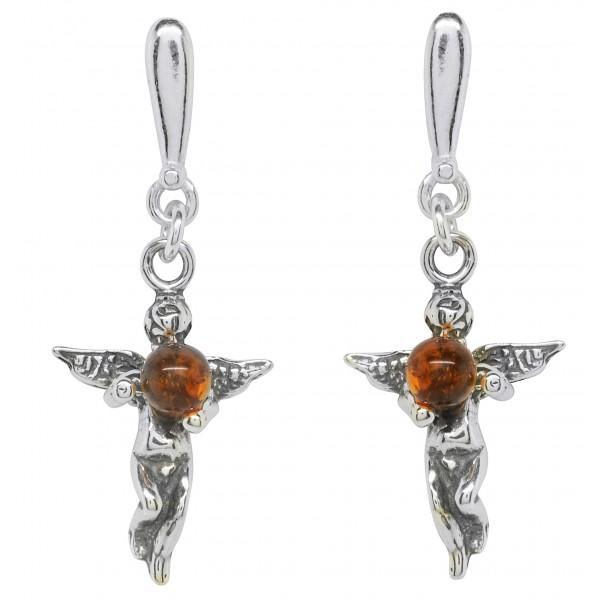Boucle d'oreille Ange en Argent avec perle d'Ambre