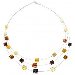 multicolor forma cuadrada collar de ámbar naturales