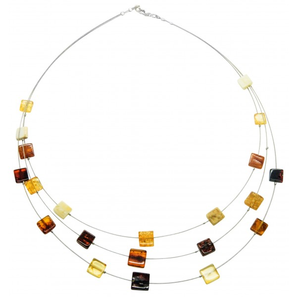 Collier d'ambre naturel multicolore forme carré