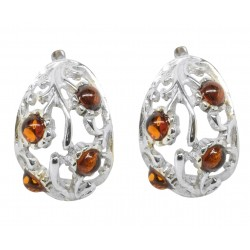 Silver and cognac amber earring