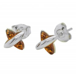 Small silver and amber cognac earring