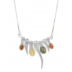 Multicolore Ambre Argent Sterling Collier