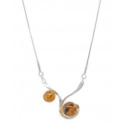 collana in argento e ambra cognac