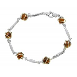 Bracelet in Amber cognac and Silver 925/1000