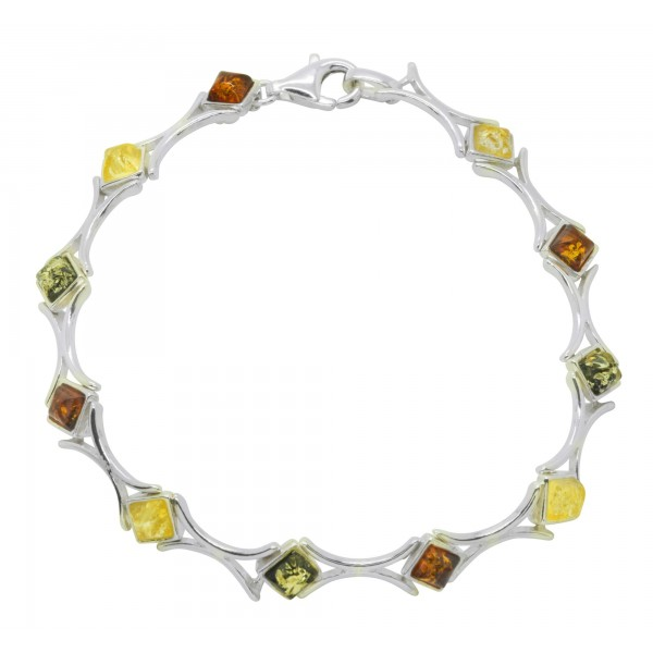 Bracelet d'ambre forme carré