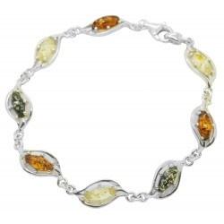 Armband Bernstein und Silber 925/1000 Multicolor