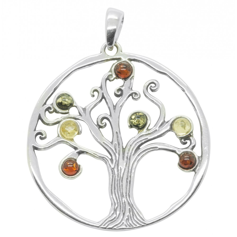 925 Sterling Silver And Amber Pendant Tree Of Life