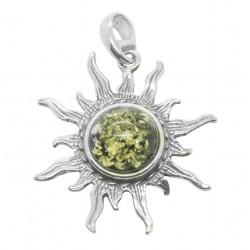 colgante de sol en verde Ámbar y Plata