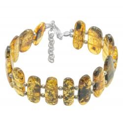 Amber bracelet in honey / green color