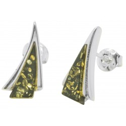 Triangle shape silver stud earrings with green amber