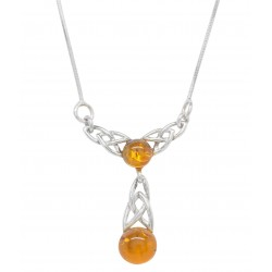 Necklace in silver and amber cognac