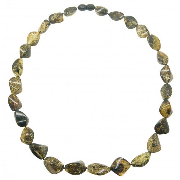 Collier Ambre multicolore forme olive taillé