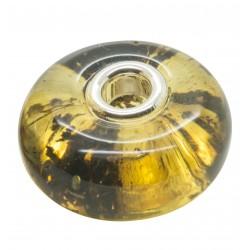 Pandora style green amber bead
