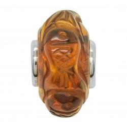 Pandora style cognac amber pearl - Fish