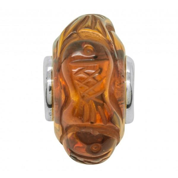 Perle en Ambre cognac style Pandora -Poisson