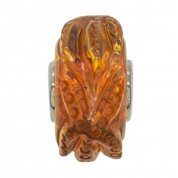 Bead in Amber Cognac Pandora style - Starfish
