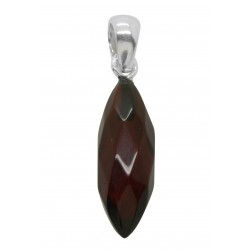 Cherry and silver amber pendant - Almond