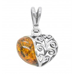 Heart pendant in silver and amber cognac