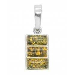 Pendant amber green and silver 925/1000 rectangular shape
