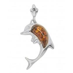 Colgante de plata con forma de delfín perla ámbar