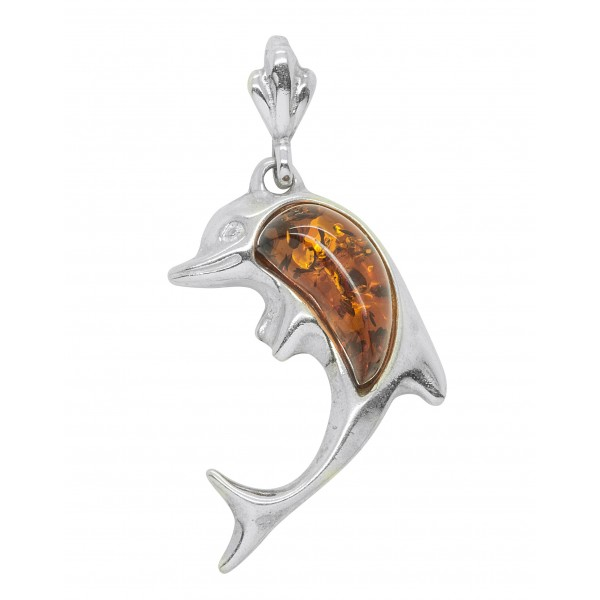 Pendentif Argent en forme de dauphin avec perle d'Ambre