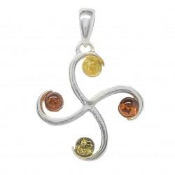 Ciondolo in argento croce e multicolore Ambra