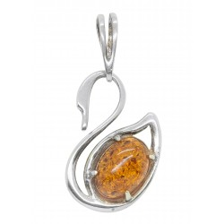 Pendant Amber cognac and silver 925/1000 swan-shaped