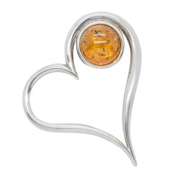 Pendentif Coeur en Argent et Ambre miel