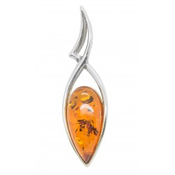 Silver pendant with cognac amber pearl