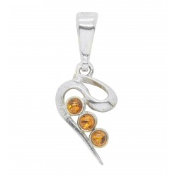 Amber cognac pendant and Silver 925/1000 Zig-Zag