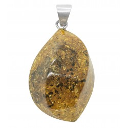 Green and silver amber pendant