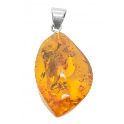 Amber honey and silver pendant