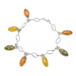 Multicolored Amber Bracelet and Silver 925/1000