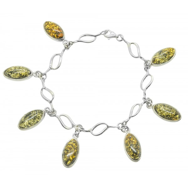 Bracelet en Ambre multicolore et Argent 925/1000